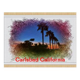 Puesta del sol de la postal en Carlsbad, Californi