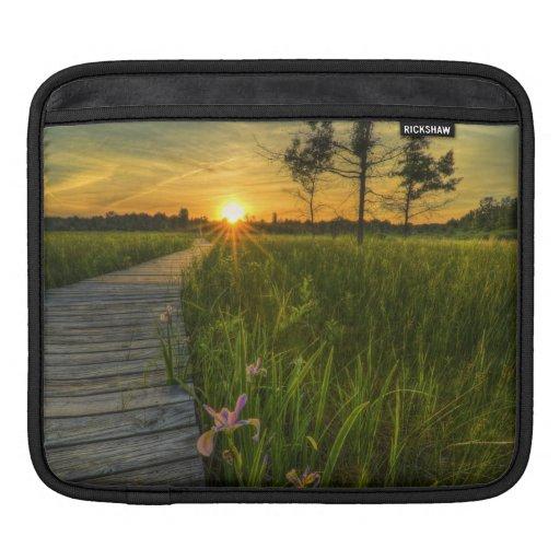 Puesta del sol de la pradera fundas para iPads