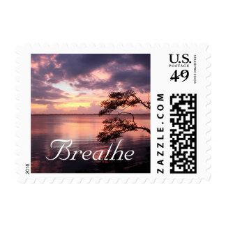 Puesta del sol de la púrpura de la respiración timbre postal