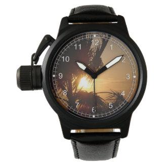 Puesta del sol de la silueta relojes de pulsera