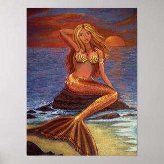 Puesta del sol de la sirena póster
