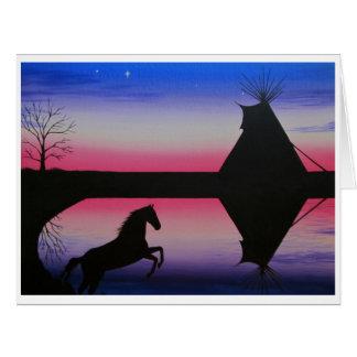 Puesta del sol de la tienda de los indios norteame tarjeta