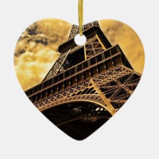Puesta del sol de la torre Eiffel de París Francia Adorno Navideño De Cerámica En Forma De Corazón