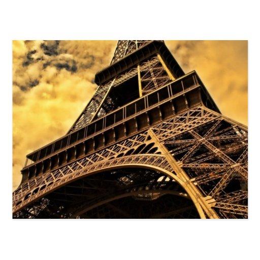 Puesta del sol de la torre Eiffel de París Francia Tarjetas Postales