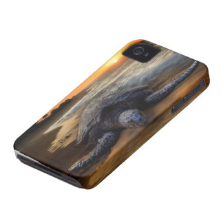 Puesta del sol de la tortuga de mar iPhone 4 Case-Mate carcasas