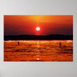 Puesta del sol de Lanier del lago Poster