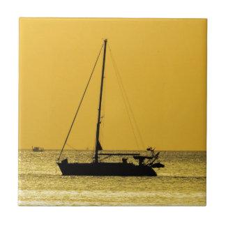 Puesta del sol de Lanta de la KOH de la playa de Azulejo Cuadrado Pequeño