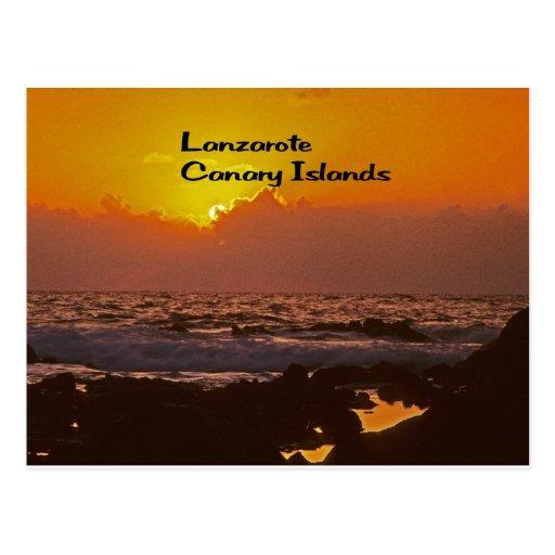 Puesta del sol de Lanzarote Tarjetas Postales