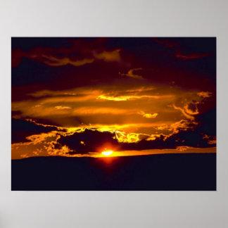 Puesta del sol de las cavernas de Carlsbad Póster