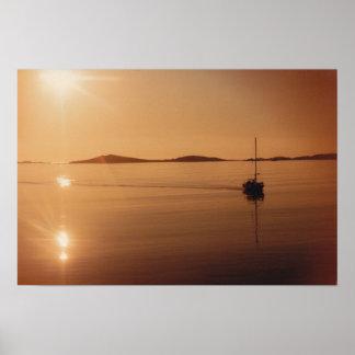 Puesta del sol de las islas de Scilly Poster