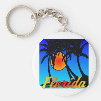 Puesta del sol de las palmeras de la Florida Llavero Redondo Tipo Pin