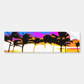 Puesta del sol de las palmeras del tigre 80s de Co Pegatina Para Auto