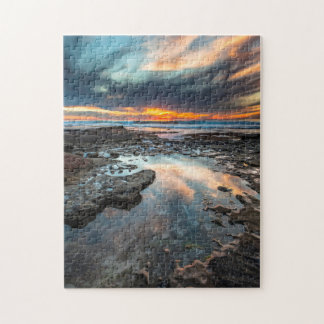 Puesta del sol de las piscinas de la marea rompecabezas con fotos