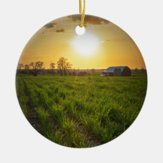 Puesta del sol de las tierras de labrantío adorno navideño redondo de cerámica