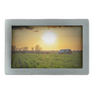 Puesta del sol de las tierras de labrantío hebillas cinturon rectangulares