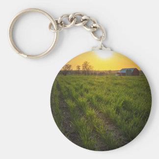 Puesta del sol de las tierras de labrantío llavero redondo tipo pin