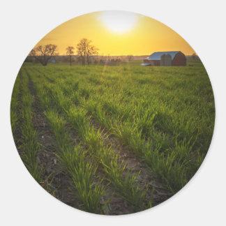 Puesta del sol de las tierras de labrantío pegatina redonda