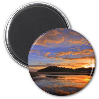 Puesta del sol de Llanstephan Imán Redondo 5 Cm