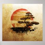 Puesta del sol de los bonsais del vintage póster