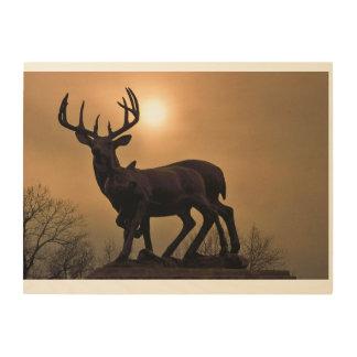 Puesta del sol de los ciervos de la sepia impresiones en madera