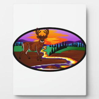 Puesta del sol de los ciervos placas con fotos