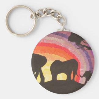 Puesta del sol de los elefantes africanos (arte de llaveros personalizados