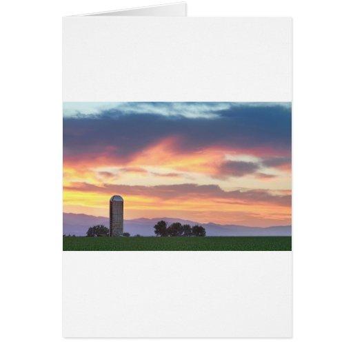 Puesta del sol de los granjeros de Colorado Felicitación