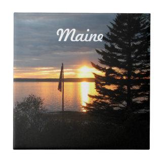Puesta del sol de Maine Azulejo Cuadrado Pequeño