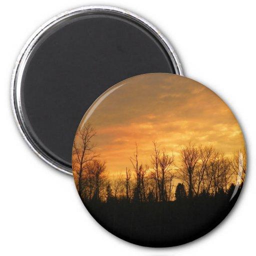 Puesta del sol de Maine Imán Redondo 5 Cm