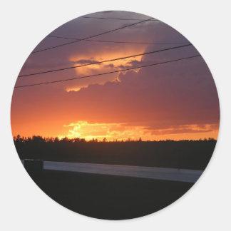 Puesta del sol de Maine Etiquetas Redondas