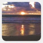 Puesta del sol de Marina Del Rey Pegatinas Cuadradases