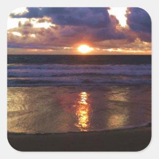Puesta del sol de Marina Del Rey Pegatina Cuadrada