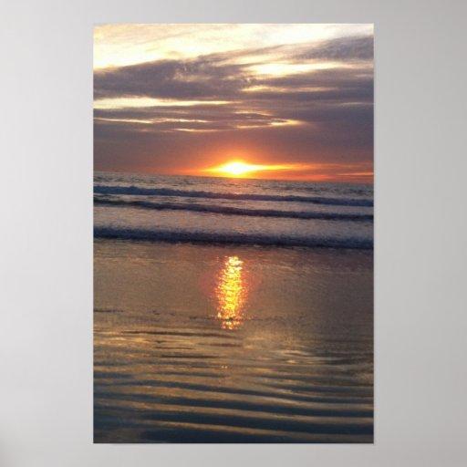 Puesta del sol de Marina Del Rey Póster