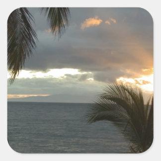 Puesta del sol de Maui Hawaii Pegatina Cuadrada