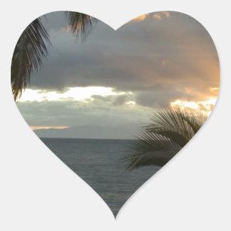 Puesta del sol de Maui Hawaii Pegatina En Forma De Corazón