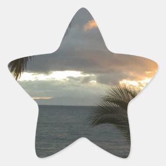 Puesta del sol de Maui Hawaii Pegatina En Forma De Estrella