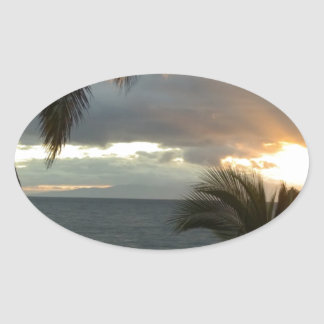Puesta del sol de Maui Hawaii Pegatina Ovalada