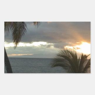 Puesta del sol de Maui Hawaii Pegatina Rectangular