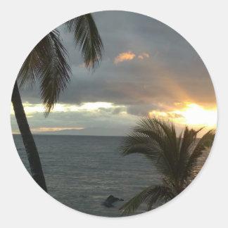 Puesta del sol de Maui Hawaii Pegatina Redonda