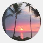 ¡Puesta del sol de Maui! .JPG Etiquetas Redondas