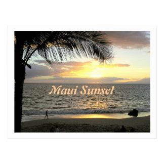 Puesta del sol de Maui, postal del caminante de la