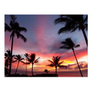 ¡Puesta del sol de Maui que sorprende! Postal