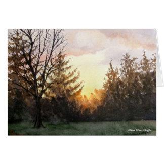 Puesta del sol de mi ventana del estudio tarjeta pequeña