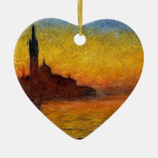 Puesta del sol de Monet en la pintura Adorno De Cerámica En Forma De Corazón