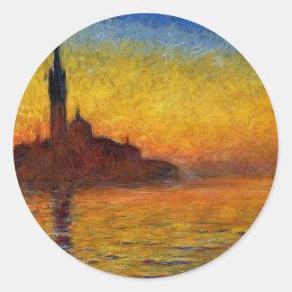 Puesta del sol de Monet en la pintura Etiquetas Redondas