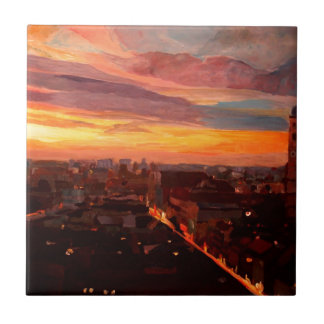 Puesta del sol de Munich con la iglesia de nuestra Azulejo