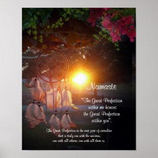 Puesta del sol de Namaste Dreamcatcher Póster