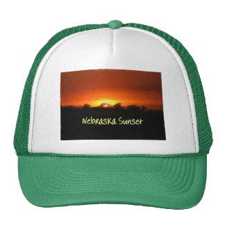 Puesta del sol de Nebraska Gorras
