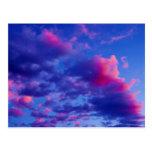 Puesta del sol de neón rosada postal