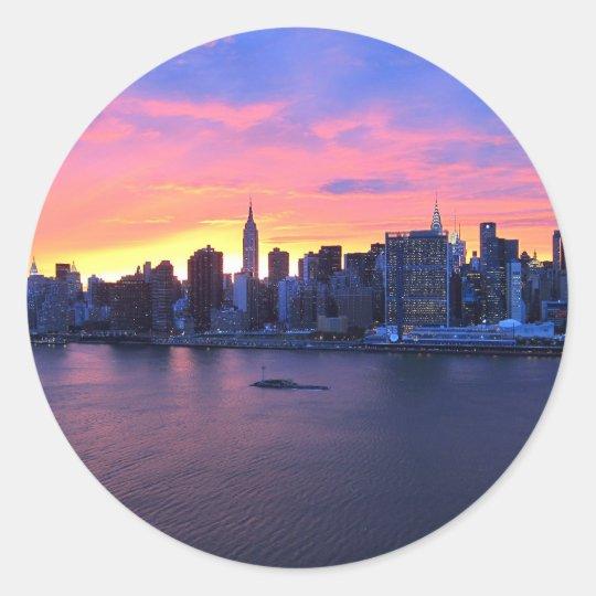 Puesta del sol de New York City Pegatina Redonda